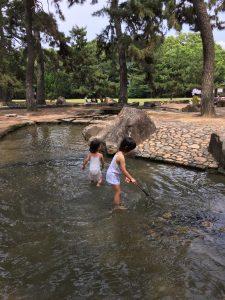 水遊び中の二人