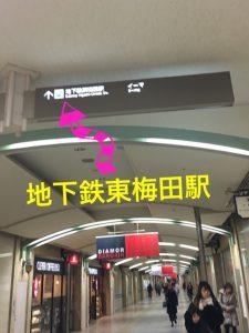 地下鉄東梅田駅看板